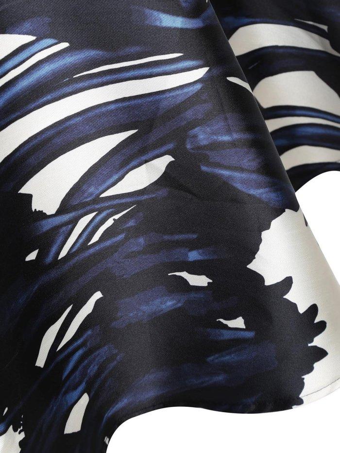 1950s Rose Print Slash Shoulder  Dress