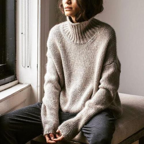 Solid Color Simple High Neck Sweater