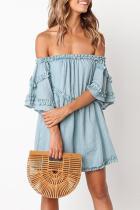 Fashion Boat Neck Pure Colour Bell Sleeve Mini Dresses