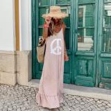 Simple Pink Sling Loose Printed Dress