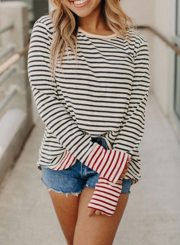 Long Sleeve Striped Tunic Tops