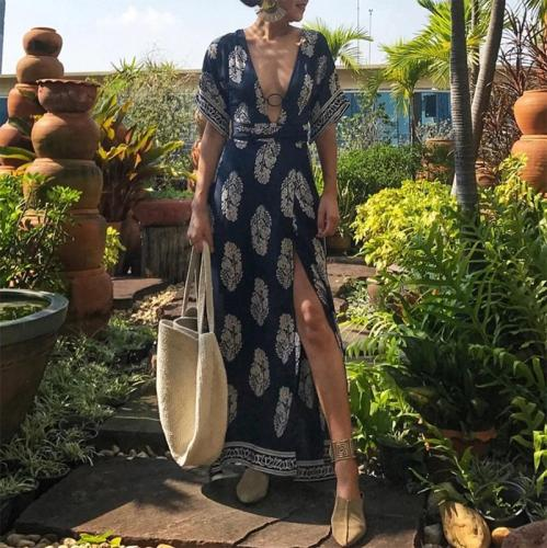 Elegant Deep V Neck Short Sleeve Printed Colour Dress