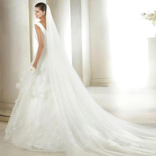 3 M 2 M White Ivory Wedding Veil One layer Long tulle Edge Cut Bridal Veil Wedding Accessories
