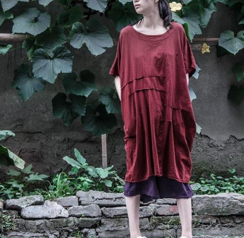 Vintage Red Oversized Linen T-Shirt | Lotus