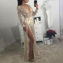 Fashion Sexy Sequined Split Evening Dress