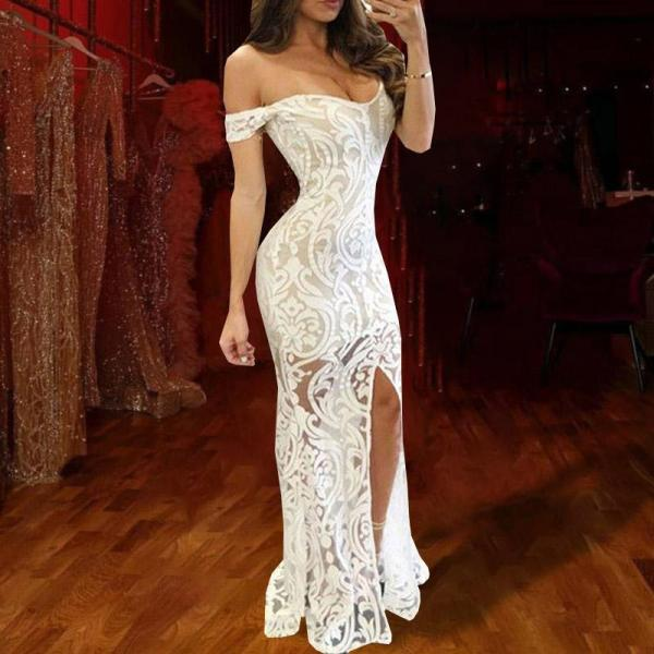 Retro Sexy Off-The-Shoulder Side Slit Lace Evening Dress