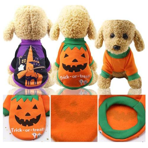 Halloween Dog Clothes Skull Bat Pumpkin Spider Dog Costume For Small Dogs Soft Warm Puppy Hoodie Coat Cosplay Dog Jacket Apperal