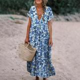 Elegant V-Neck Short Sleeve Printed Vacation Dress