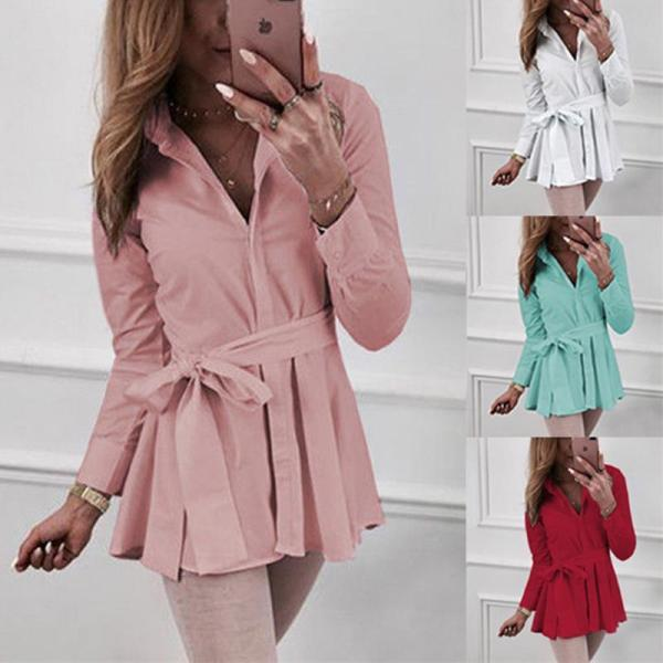 Lapel Belt Long Sleeve Pleated Plain Blouses