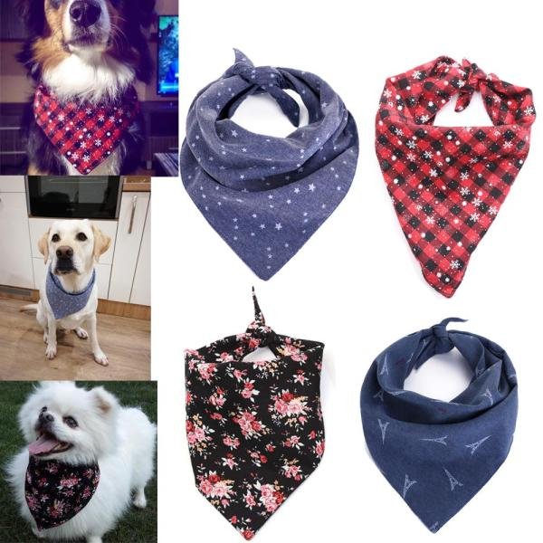 Dog Bandana Cotton Scarf Bib Flower Grooming Accessories Triangular Bandage Collar for Small Medium Large Pet Fashion Design