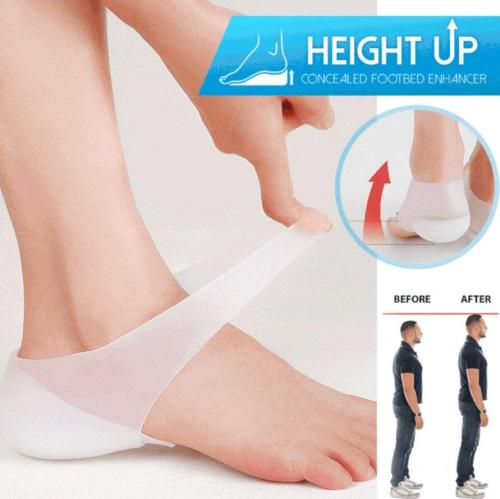 1 Pair Concealed Footbed Enhancers Invisible Height Increase Insoles Silicone Foot Lift Pads Dress In Socks Tool