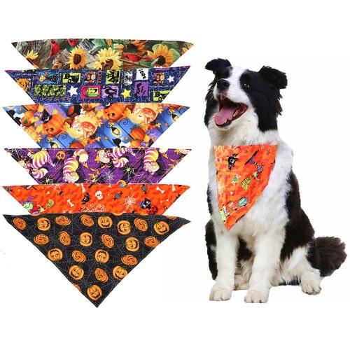 1 Pcs Pet Accessories Pumpkin thanksgiving Cute Dog Cat Bandanas For Small Large Dog Halloween Bandana Scarf Pet Product