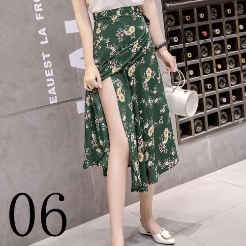 New one-piece skirt women summer chiffon wrap skirt long floral beach skirt