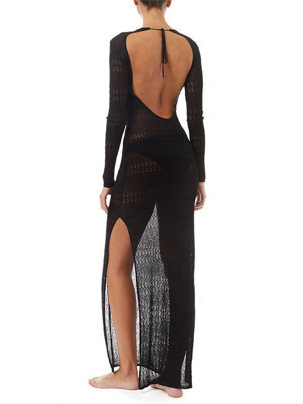 Pretty Backless Split-side Long Cover-Up Top