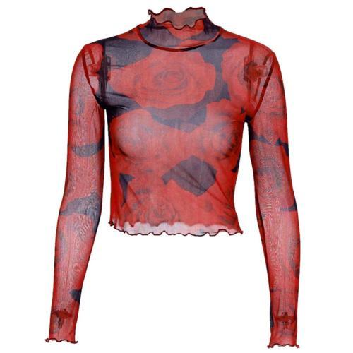 Women Base Shirt  Comfortable autumn winter Women Print T-Shirt  Camouflage T Shirt Tops Turtleneck Mesh Long Sleeve Tops