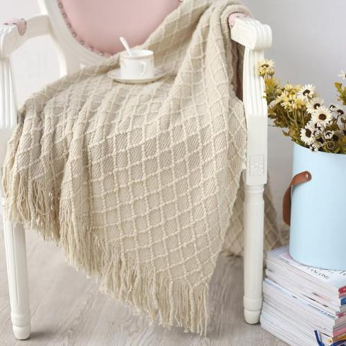 Cashmere Like Soft Plaid Knitted Throw Blanket with Tassel Nordic Style Bed Runner Sofa Cover Travel Blankets Bedspread Cobertor