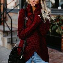 Fashion Round Neck Split Sweater
