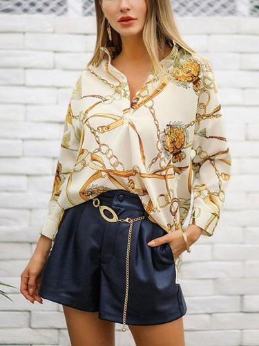 Vintage gold chain printed nine-point sleeve shirt