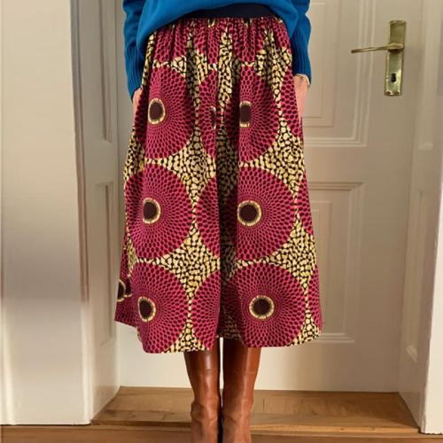 Fashion print A-line vacation skirt RY58