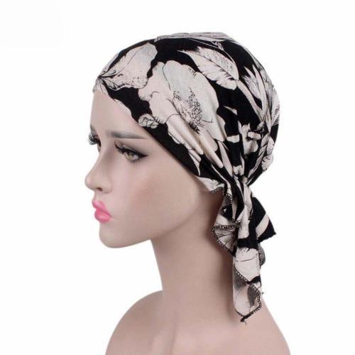 Fashion Vintage Floral Printed Muslim Turban Hats Women Girls  Stretchy Elastic Chemo Cap Head Scarf Hijab Cap Hair Accessories