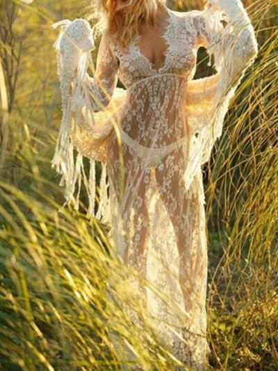 Sexy Lace Deep V-neck Floor Maxi Dress
