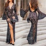 Sexy V-neck Halter Bat Sleeve Evening Dress