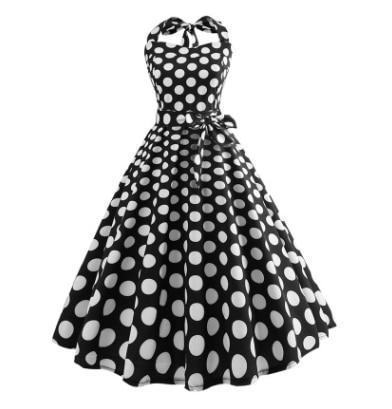 Summer Dress 2020 Robe Vintage Pin Up Dress Women Floral Print Halter Big Swing 1950s 60s Retro Rockabilly Party Dresses Vestido