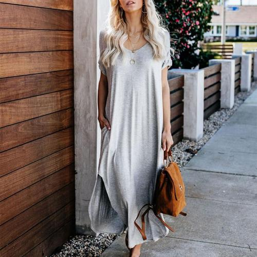 Short Sleeve Solid Color Swallowtail Casual Maxi Dress
