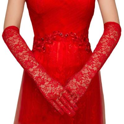 Women Hollow Out Crochet Floral Lace Long Wedding Gloves Solid Color Elbow Length Bridal Prom Party Full Finger Mittens