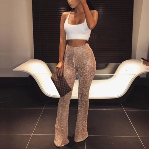 Fashion Slim Paillette High Waist Evening Long Pants