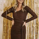 V-Neck Wrinkle Long Sleeve Bodycon Dress