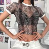 21 Styles Women Sexy See Through T Shirt 2020 Hot Transparent Mesh Slim Ladies Turtleneck Party Streetwear Tops Tshirt