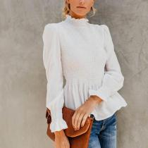 High Collar Lantern Sleeves Pleated Blouses