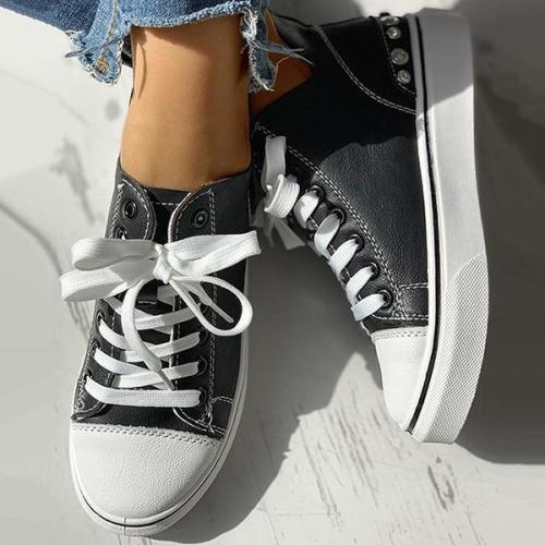 EBUYTIDE Women Casual Eyelet Detail Lace-Up Sneakers