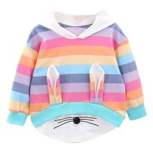 Toddler Kids Baby Girls Striped Rainbow Cartoon Hooded Sweatshirt Coat Tops Cute Girl Sweatshirts
