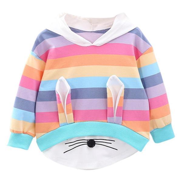 Toddler Kids Baby Girls Striped Rainbow Cartoon Hooded Sweatshirt Coat Tops Cute Girl Sweatshirts