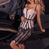 Fashion Ribbon Sling Lace Bodycon Dress