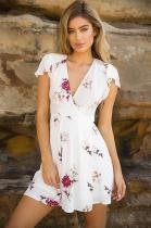 Casual Floral Print Short Sleeves Mini Dress