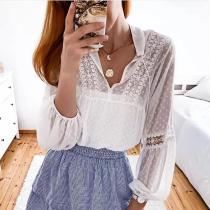 Cute Lace Long Sleeve Stand Collar Blouse