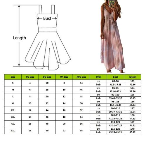 EBUYTIDE Casual Women Robe Sexy Maxi Dress Summer Sleeveless V -Neck Printed Long Dress Big Swing Tie Dye Plus Size Boho Dress