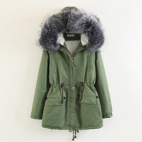 Faux Fur Collar Pockets Drawstring Women Parka Jacket Oversized Coat