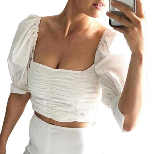 E-girl vintage white tunic shirt Crop Tops Y2K puff sleeve Tube Top Tanks Cropped Summer Casual Tops For Women Tshirt Crop Tops