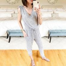 EBUYTIDE Casual Grey V-Neck Sleeveless Slim Fit Jumpsuit