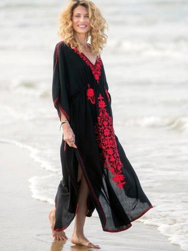 Embroidered Vacation Long Dress