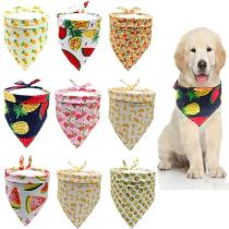 Fruit Print Dog Bandanas Pet Neck Scarf Pet Bandana For Dog Cotton Bow ties Collar Washable Dog Scarf Large Pet Dog Accessories