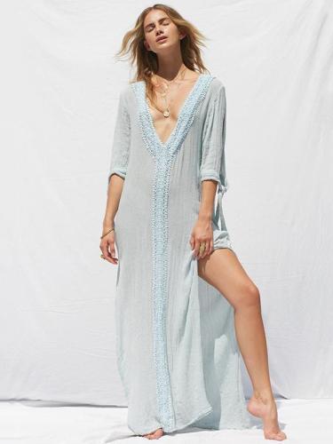 Solid Color V-neck Split-side Maxi Dress