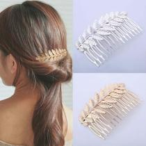 1Pcs Tree leaf Hair Clip Comb Hair Accessories Wedding Metal Women Hairpin Hair Combs Hair Accessories Styling Tools