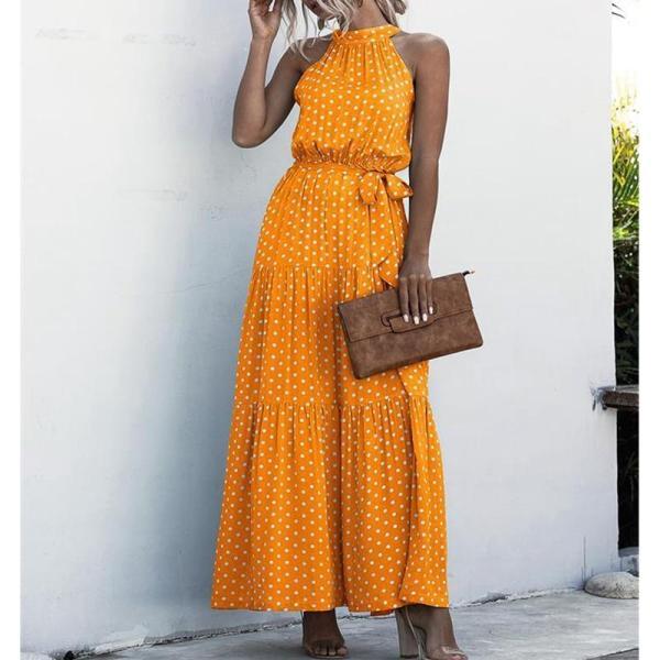Summer Beach Long Dress Women Print Flowers Polka-dot Strap Ladies Halter Boho Dress Orange