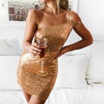 Fashion Sexy Off-the-shoulder Paillette Bodycon Dress