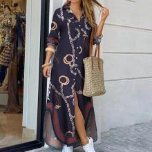 Women Turn-Down Collar Shirt Long Dress Summer Button Chain Print Dress Casual Autumn Long Sleeve Beach Maxi Dress Vestido 4XL